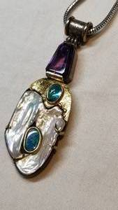 Amethyst, Opal and Pearl Pendant Necklace in 18K and Sterling, signed