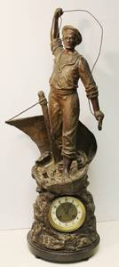 Cod Fishing Large Statue French Clock