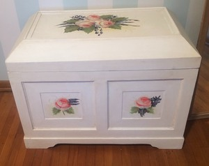 Antiqued Whitewashed Hand Painted Trunk by Valerie