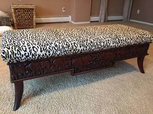 Wooden Padded Bench w/ Ornate Elephant Carvings