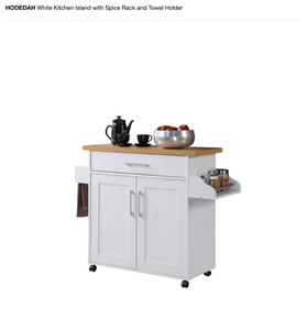 Hodedah HIK78 WHITE Kitchen Island With Spice Rack & Towel Rack - White not used