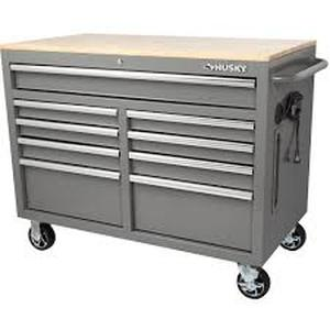 HUSKY 46 in. W 9-Drawer, Deep Tool Chest Mobile Workbench in Gloss Gray with Hardwood Top! SEE PICS!