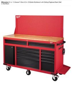 MILWAUKEE 61 in. 11-Drawer/1-Door 22 in. D Mobile Workbench with Sliding Pegboard Back Wall in Red/Black! NOT USED SEE PICS!
