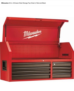 MILWAUKEE 46 IN. 8-DRAWER STEEL STORAGE TOP CHEST IN RED AND BLACK! NOT USED SEE PICS!