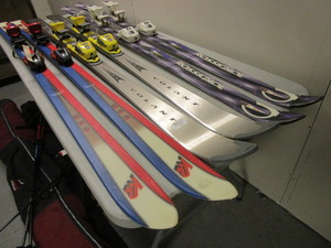DOWNHILL SNOW SKIS WITH BINDINGS, POLES, TRAVEL BAGS, ROSSIGNOL, VOLANT, K2- BRAND