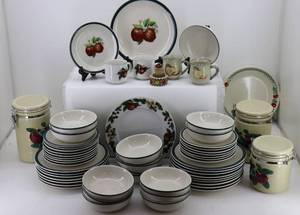 Huge Lot of Apple Theme Plates, Bowls, Cookie Jar