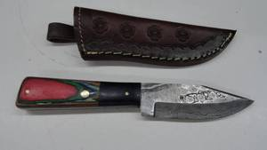 Damascus Steel Fixed Blade Knife With Leather Sheath