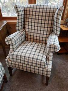 Clayton Marcus matching wingback chair set with ottoman