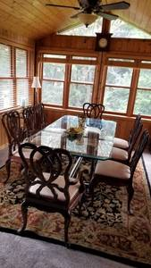 Glass top family dining table and chair set