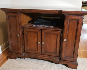 Exquisite Carved Wood Entertainment Cabinet by Hooker