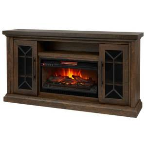 Madison 68 in. Media Console Infrared Electric Fireplace in Medium Brown Acacia with Dark Brown in good conditions
