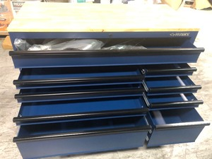 Husky 56 in. 9-Drawer Mobile Workbench in Matte Blue not used have some scratch and dent please revied the pictures