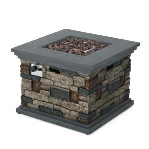 Chesney 32 in. x 24 in. Stone Square Outdoor Gas Fire Pit by Noble House ingood conditions