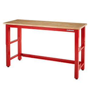 6 ft. Adjustable Height Solid Wood Top Workbench in Red by Husky in good conditions