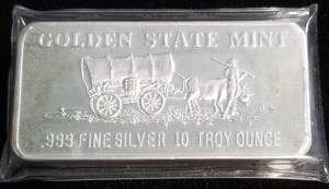 10 TROY OZ. .999 FINE SILVER BAR STAGECOACH IN PLASTIC