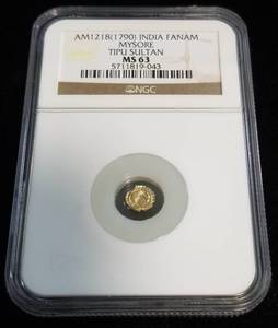 AM1218- 790 GOLD INDIA FANAM MYSORE (TIPU SULTAN) MS63 NGC