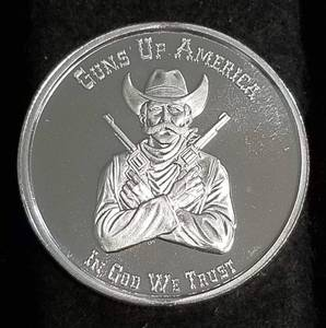 1 TROY OZ. .999 FINE SILVER 2nd AMENDMENT GUNS UP AMERICA CRACKER