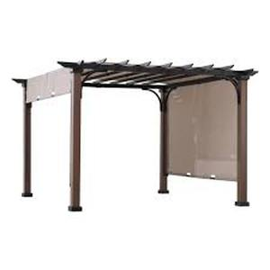 SUNJOY Neuralia 10 ft. x 10 ft. Steel Pergola with Natural Wood Looking Finish and Adjustable Tan Shade!!! SEE PICS!