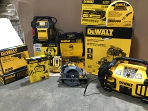 Pallet with assorted Dewalt tools various conditions