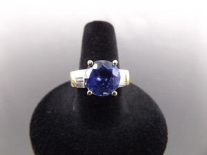 14k Yellow Gold 3ct Round Tanzenite Diamond Baguette Ring Size 7.25