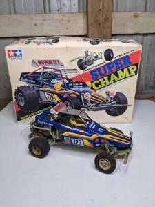Vintage 1980s Tamiya Super Champ Radio Control Off Road Racer in Original Box
