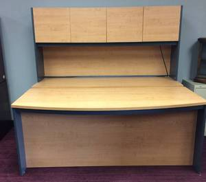 CONTEMPORARY BOW FRONT DESK & OVERHEAD 4 DOOR LIGHTED CABINET - THESE ARE TWO SEPARATE PIECES AND THE OVERHEAD CAN GO ON TOP OF THE DESK HOWEVER THE DESK HAS A DOUBLE SIDED OPENING - EXCELLENT CONDITION!