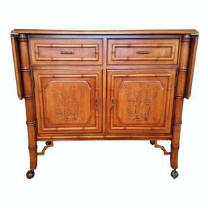 Fabulous 1950's Dixie Aloha Chinese Chippendale Serving Cart On Wheels Faux Bamboo Buffet Server Credenza Hollywood Regency Palm Beach Style With Painted Cabinet Doors - Great Condition - Minor Wear For Age!