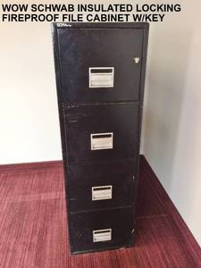 WOW $$$$ SCHWAB UNDERWRITERS LABORATORIES FIREPROOF INSULATED RECORD CONTAINER CLASS 350 FIRE SAFE 4 DRAWER FILING CABINET FOR VITAL RECORD OR LEGAL DOCUMENTS SAFETY - LOCKING WITH KEY!