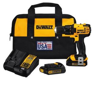 20-Volt MAX Lithium-Ion Cordless Compact Drill/Driver with (2) Batteries 1.5Ah, Charger and Tool Bag by DEWALT in good condition