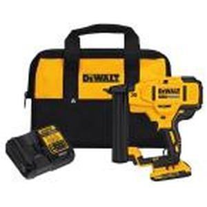 20-Volt MAX XR Lithium-Ion Cordless 18-Gauge Narrow Crown Stapler Kit with Battery 2Ah, Charger and Contractor Bag by DEWALT IN GOOD CONDITIONS