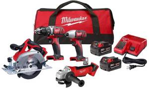 Milwaukee 2691-24G 18-Volt Cordless Combo Tool Kit (4-Tool) with Two 3.0 Ah Batteries, 1-Charger, 1-Tool Bag IN GOOD CONDITION S