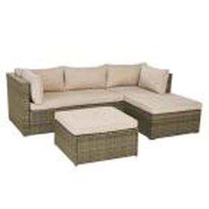 Valley Peak 3-Piece All-Weather Gray Wicker Sectional Outdoor Patio Set with Beige Cushions by Hampton Bay