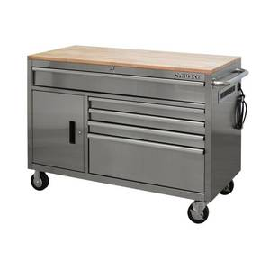 Husky 52 in. W 5-Drawer 1-Door, Deep Tool Chest Mobile Workbench in Stainless Steel with Hardwood Top HOTC5205JX2M