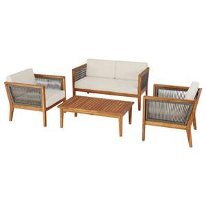 Hampton Bay Willow Glen Farmhouse 4-Piece Wood Patio Conversation Set with Teak Finish and Beige Cushions 81884