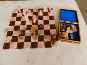 Marble Chessboard w/ Marble Chess Pieces