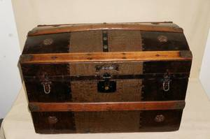 Large Antique Saratoga Trunk with Compartments