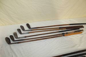Lot of (6) Vintage Golf Clubs - Lowe&Campbell Special Putter, H&B Hand Made 1M Mashie, Marathon Ladies #5 Mashie, Macgregor Big G Niblick, Fairy Crest Putter, Wright&Ditson Iron