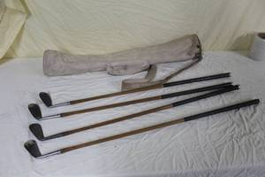 Lot of (4) Vintage Tommy Armour Open Champion Golf Clubs with Golf Club Case - #2 Iron, #5 Iron, #7 Iron, #8 Iron