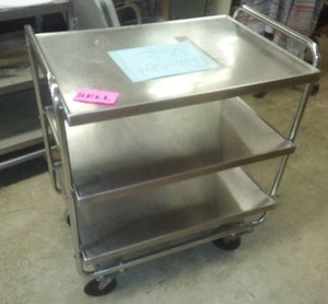 3 tiered rolling cart, stainless steel, 36H x 31L x 21W.