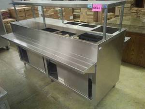 Serving buffet - double sided with underneath storage. Stainless Steel.