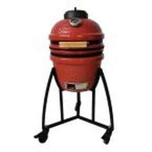 Kamado 133 sq. in. Cooking Surface Charcoal Grill and Smoker with Locking 4 Wheel Cart and Grill Cover in Red