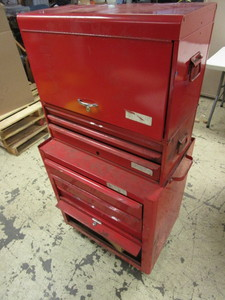 SPARTAN II TOOL CHEST, FULL OF QUALITY ASSRTD. TOOLS, WRENCHES, BELT SANDERS, SAWS, T-KEYS, MORE