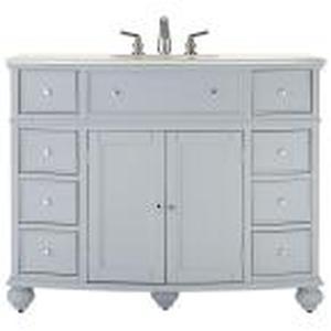 Hampton Harbor 45 in. W x 22 in. D Bath Vanity in Dove Grey with Natural Marble Vanity Top in White not used