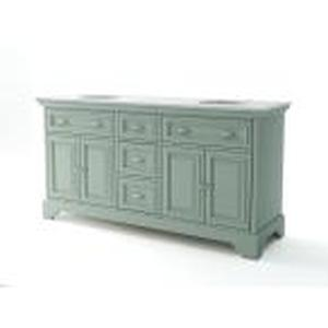 PALLET OF Sadie 67 in. W x 21.5 in. D Vanity in Antique Light Cyan with Marble Vanity Top in Natural White with White Sinks CUSTOMER RETURNS SEE PICTURES