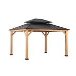Archwood 12 ft. x 10 ft. Cedar Frame Gazebo with Double Tier Steel Roof Hardtop by Sunjoy not used