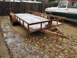 1988 Dual-Axle Metal Utility Trailer with Wood Bed