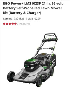 EGO Power+ LM2102SP 21 in. 56 volt Battery Self-Propelled Lawn Mower Kit (7.5AH Battery & 56-Volt 550-Watt Rapid Charger) SEE PICS!