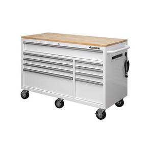 Husky 56 in. W 9-Drawer Deep Tool Chest Mobile Workbench in Gloss White with Hardwood Top. Slight Scratch and Dent.
