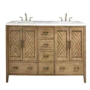 Home Decorators Collection Sedona 72 in W. Double Vanity in Fawn Grey with Faux Marble Vanity Top in White with White Basins, 9966000270 - One Door is Damaged on LH Side.