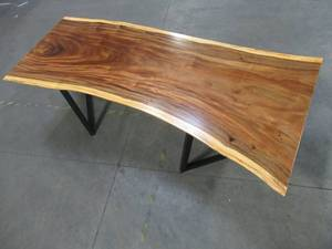 Solid Wood Live Edge Walnut Dining Table (104422362) With Metal V2 Bases (MV2BD).